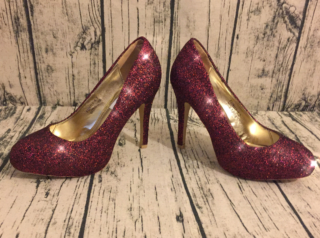 a66f0d4d7482 ... Women s Sparkly Burgundy Maroon Dark Red Glitter high low Heels shoes  ...