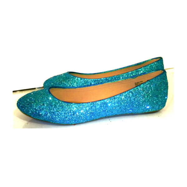 Women's Sparkly Turquoise Malibu Blue Glitter BALLET Flats bride wedding shoes prom
