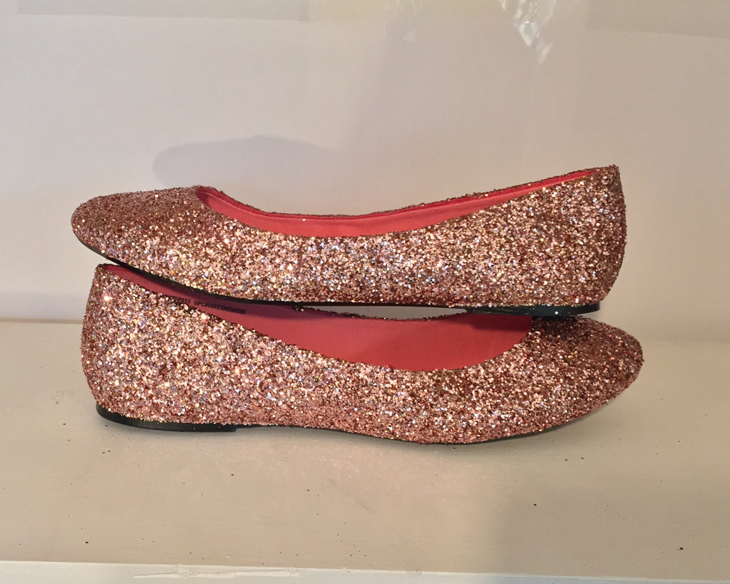 6abeb1f215e ... Women s Sparkly Metallic Rose Gold Pink Glitter ballet Flats wedding  bride prom shoes ...