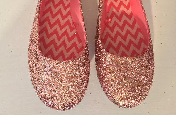 Women's Sparkly Metallic Rose Gold Pink Glitter ballet Flats wedding bride prom shoes