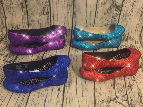 Women's Glitter Ballet Flats with Satin Ribbon - Turquoise