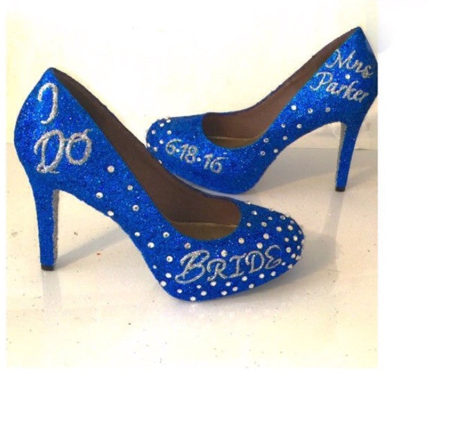 e7148c18076 Sparkly Royal Blue Glitter high low Heels wedding bride Peep toe Pumps –  Glitter Shoe Co