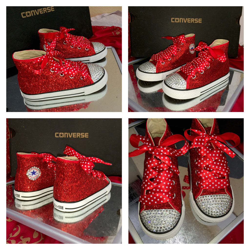 35b16acf26d Kids Glitter Converse All Stars Bling Crystals Flower Girls birthday ...