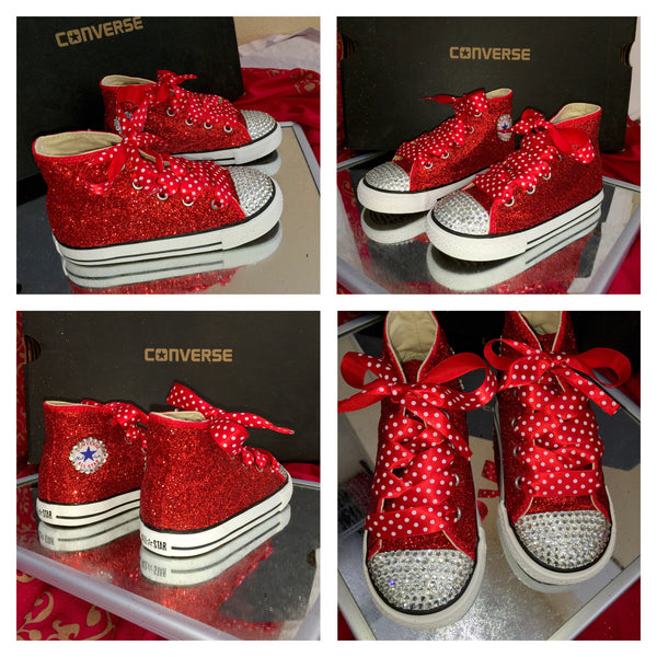 Kids Glitter Converse All Stars Bling Crystals Flower Girls birthday
