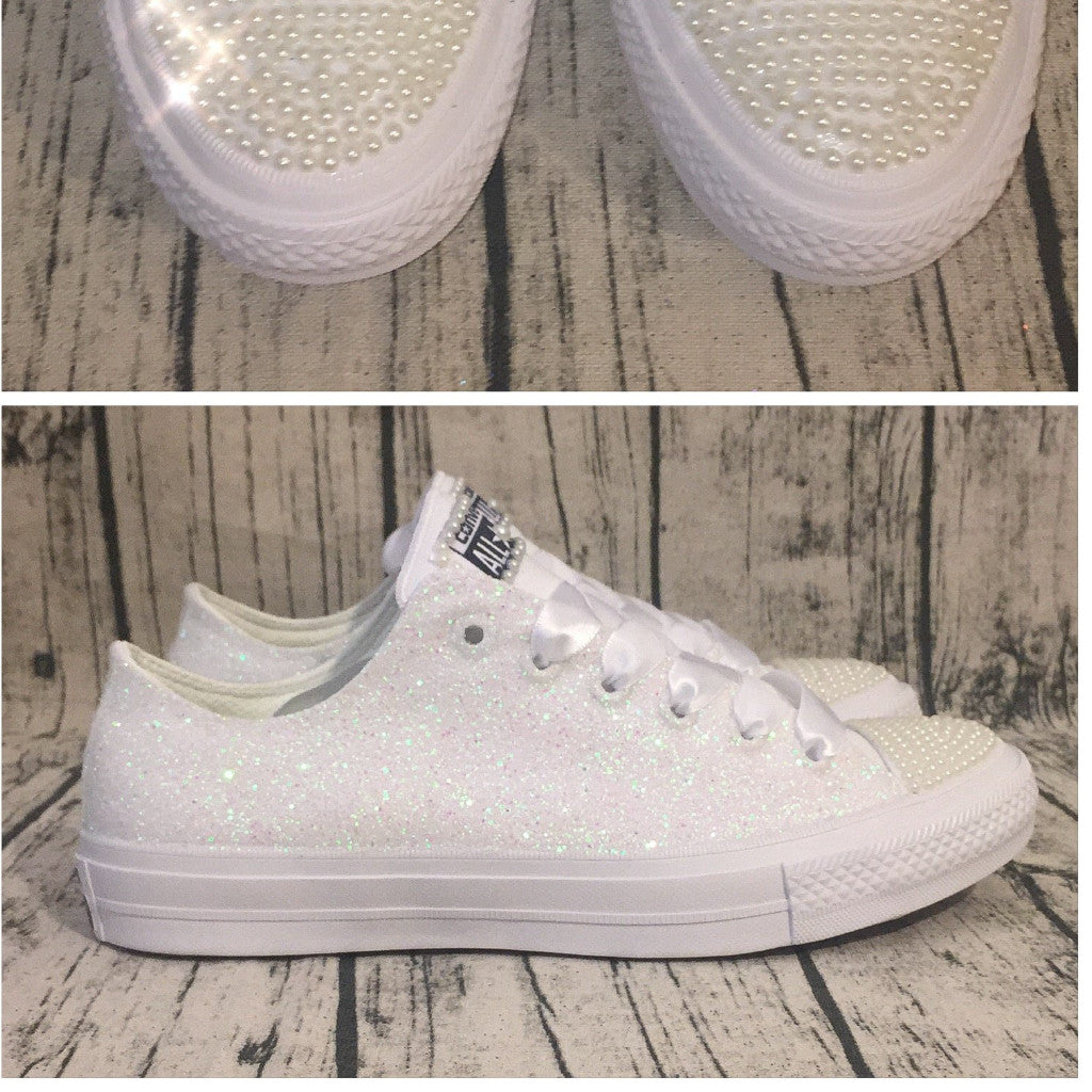 Ivory White Glitter pearls Converse All