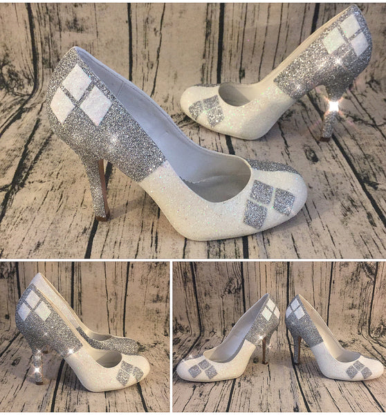 Women's Sparkly Super Hero white Glitter Heels shoes Harley Quinn wedding bridal
