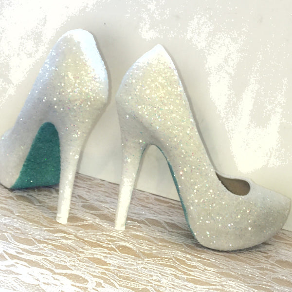 Womens Sparkly White or Ivory Glitter high low Heels Wedding bride Shoes Mint soles