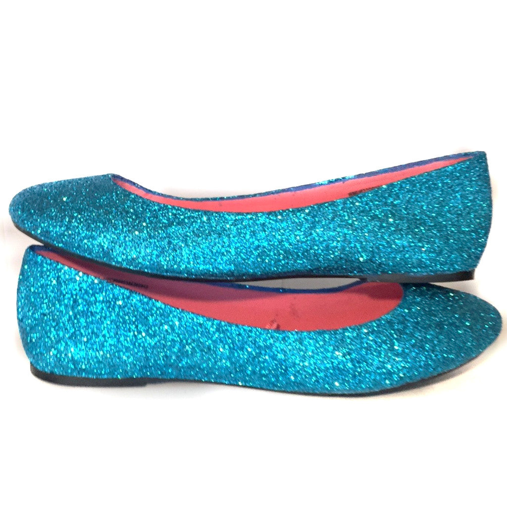 1aec3b96b94046 Women's Sparkly Turquoise Malibu Blue Glitter BALLET Flats bride wedding  shoes prom