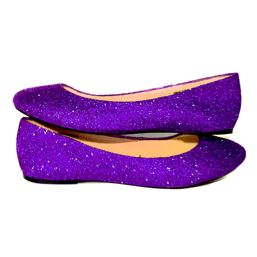 Sparkly Purple Glitter Ballet Flats Wedding Bride