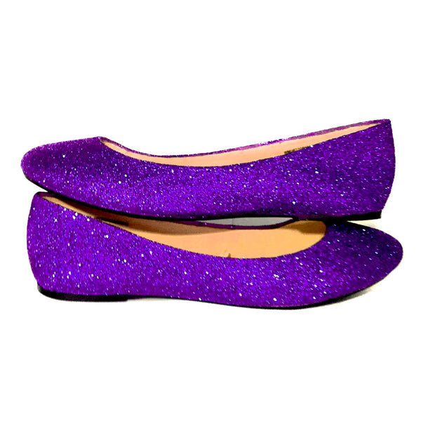 Women's Sparkly Purple Glitter Ballet Flats Wedding Bride Princess Prom Shoes - Glitter Shoe Co