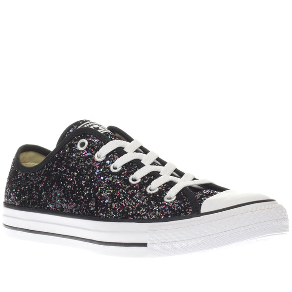 Women's Sparkly Black Glitter Converse All Stars Bride Wedding Gift Prom Graduation Gift