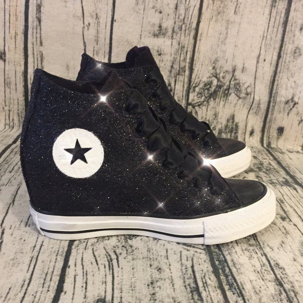 Sparkly Black Glitter Converse All Stars Wedge Heels Wedding Bride Prom Sneakers Shoes