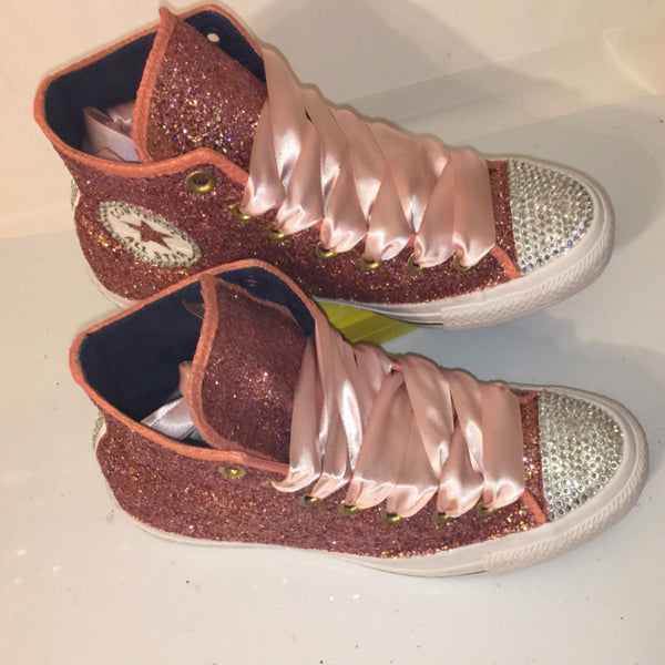 Womens Glitter Crystals Converse All Stars Metallic Rose Gold Pink Prom Wedding Bride Shoes Sneakers