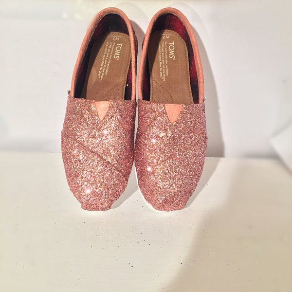 Women's classic Toms sparkly Rose Gold Pink glitter wedding bride bridal shoes
