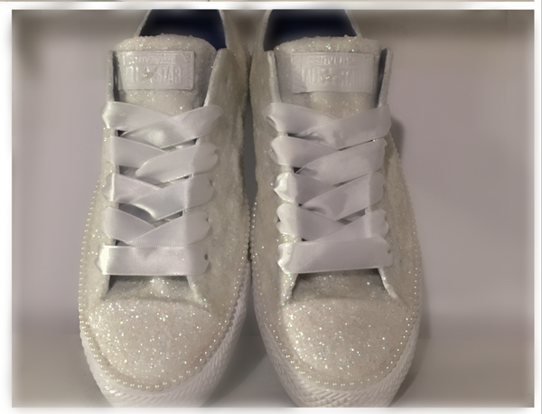 Sparkly White Ivory Glitter Converse All Stars pearls Bride Bridal wedding shower gift shoes Br