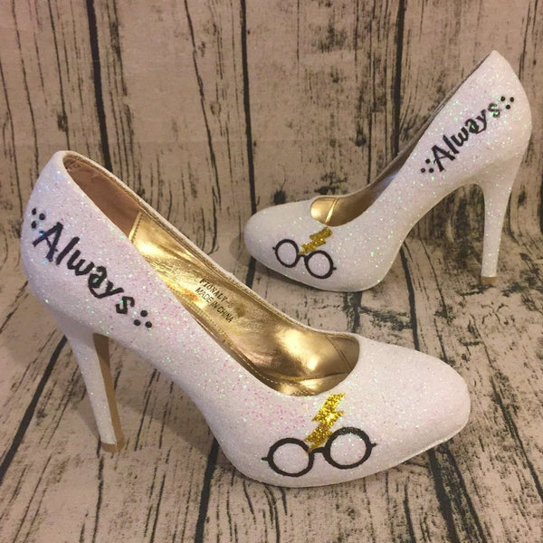 Womens Sparkly White Ivory Glitter Heels Harry Potter Wedding bride Superhero Shoes