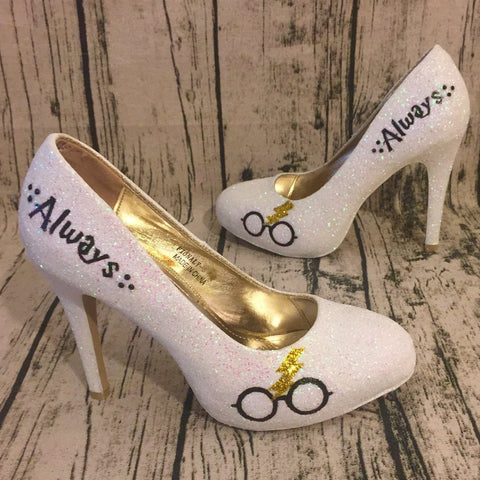 f5178b152 Womens Sparkly White Ivory Glitter Heels Harry Potter Wedding bride  Superhero Shoes