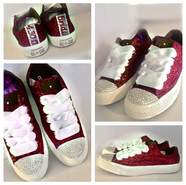 Sparkly Burgundy Maroon Red Glitter Crystals Converse All Star wedding bride personalized shoes - Glitter Shoe Co