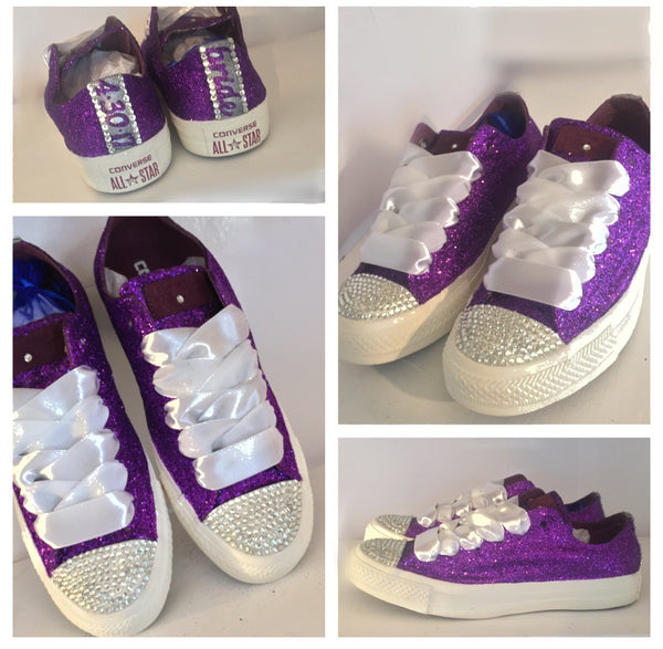 Sparkly Glitter Bling Crystal Converse Purple Bridal Wedding Shoes prom