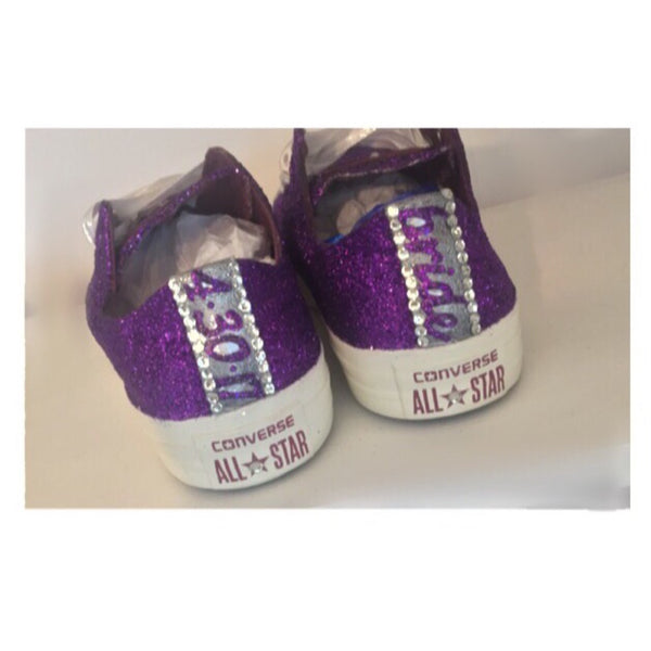 Sparkly Glitter Bling Crystal Converse Purple Bride Wedding Shoes prom