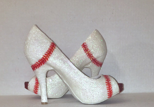 Women's Sparkly white or Ivory Glitter BASEBALL stitch high & low Heels Stiletto shoes