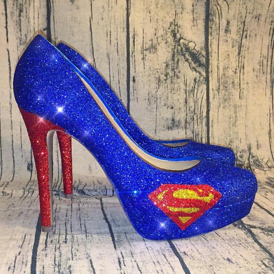 Women Fashion High Heels Pumps Shoes Royal Blue Womens Superman Red Glitter Low Bride Wedding Sparkly Superhero