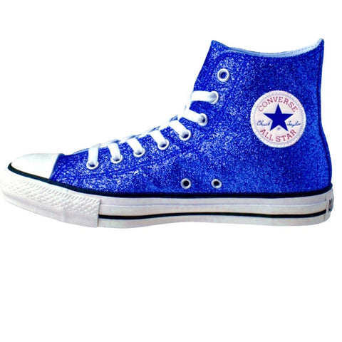 Women's Sparkly Glitter Converse All Stars High Top - Royal Blue