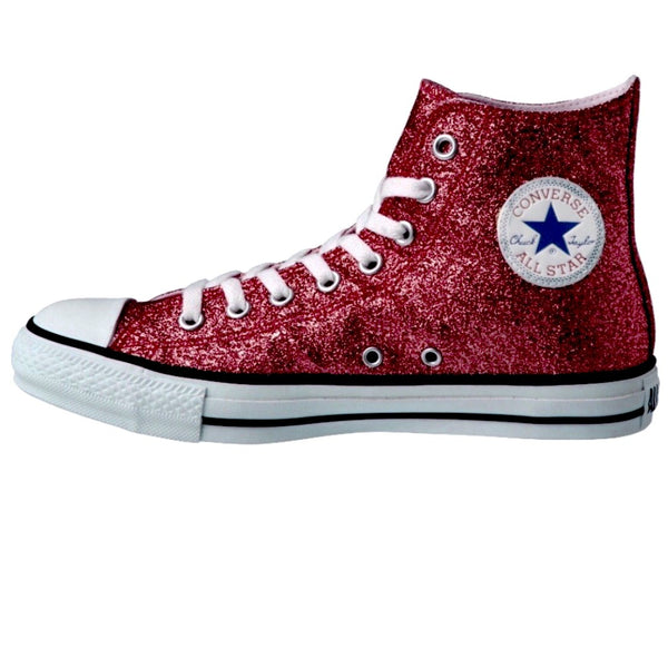 Women's Sparkly Glitter Converse All Stars High Top - Burgundy