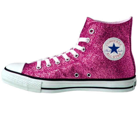 Sparkly Glitter Converse All Star Fucshia Hot Pink Wedding bride shoes