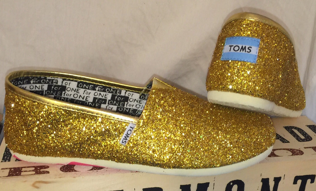 a1fe48cb4 ... Womens Sparkly Glitter Toms Flats shoes bridal Bride Wedding Comfortable  Gold Yellow 24k - Glitter Shoe ...