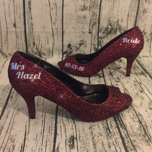 Womens Burgundy Maroon Wine Glitter Peep Toe Pumps Heels wedding bride shoes