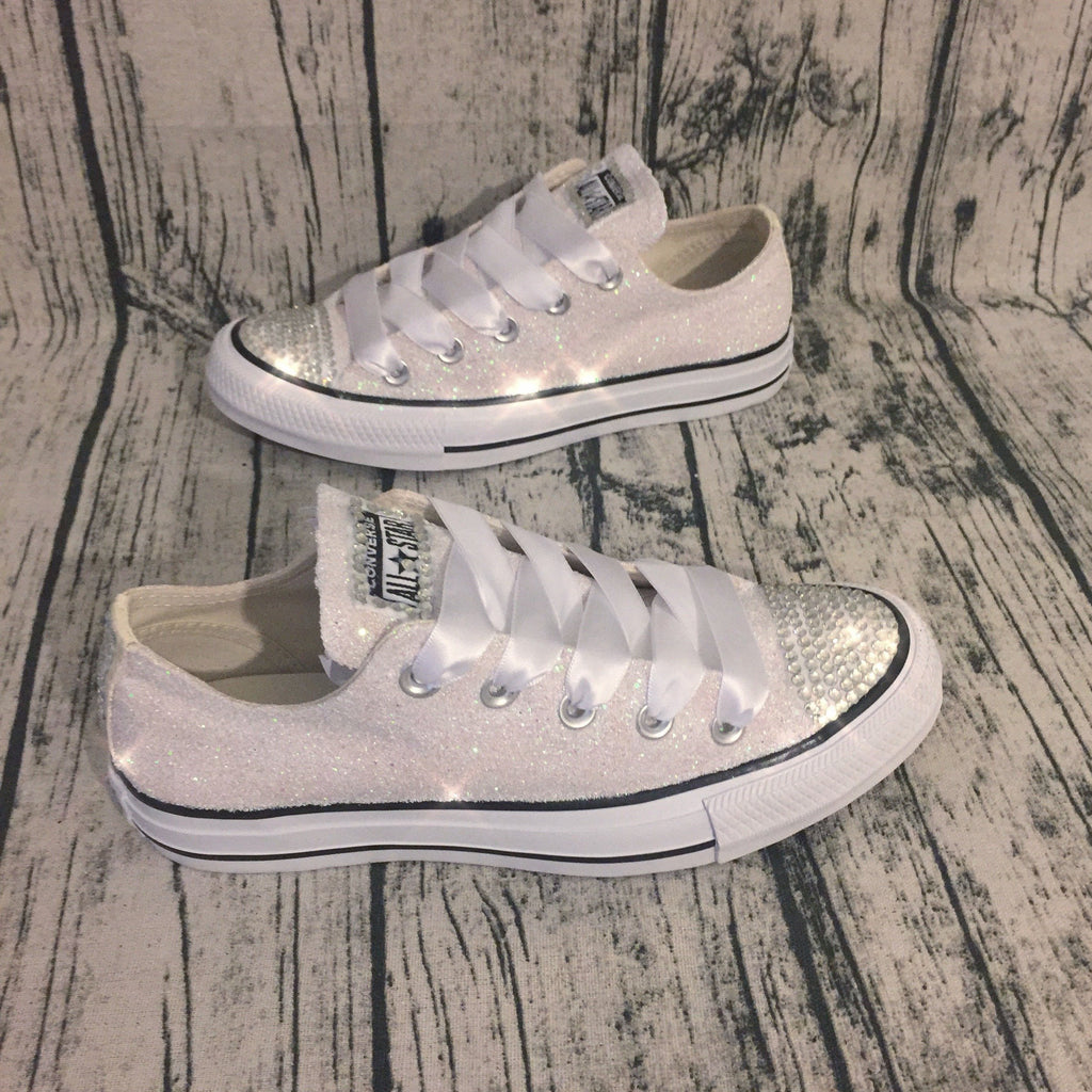7e5dff5c608 ... Sparkly White or Ivory Glitter bling Converse All Stars Bride Wedding  Shoes Sneakers ...