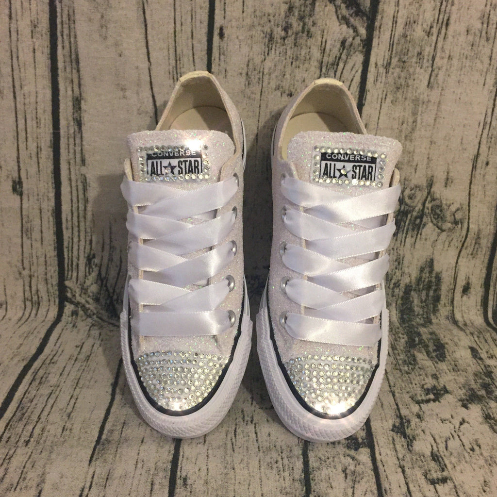 Womens White Ivory Glitter Converse Bling Shoes Wedding Bride Sneakers Glitter Shoe Co