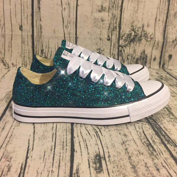 Women's Sparkly Glitter Converse All Stars High Top Teal - Glitter Shoe Co