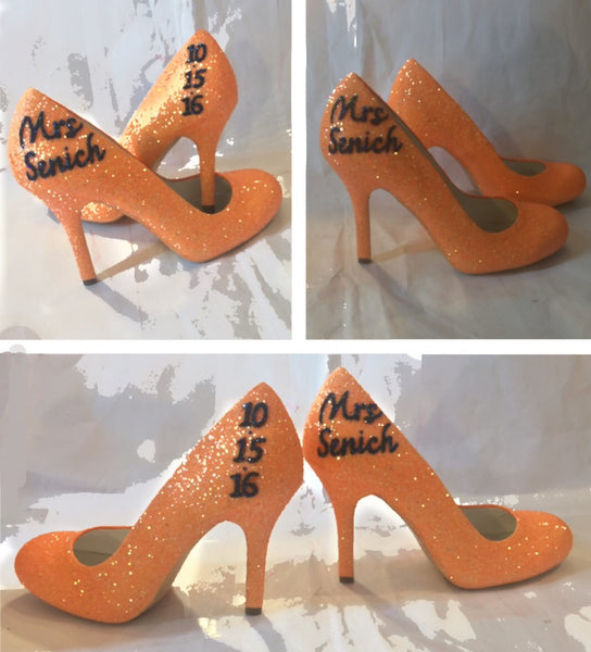 Sparkly Orange Tangerine Glitter high & low Heels Stiletto wedding bride shoes -Personalized - Glitter Shoe Co