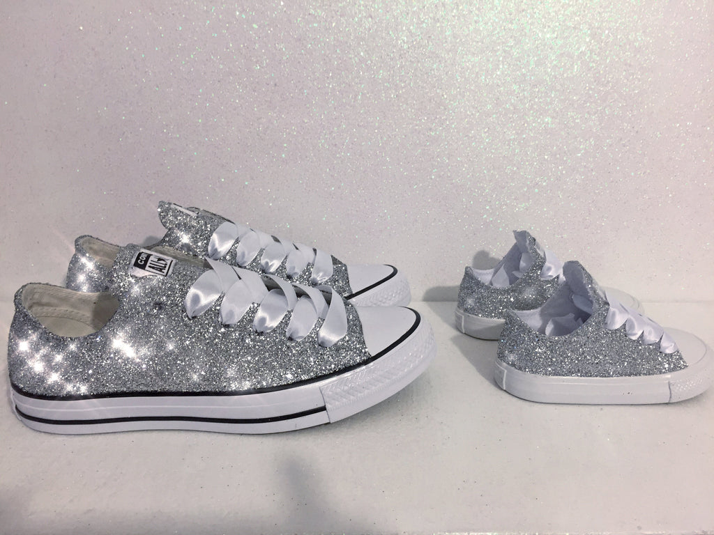 cc3e12b65987 ... Girls Toddler Sparkly Glitter Converse All Stars Crystals Sneakers  Shoes Silver