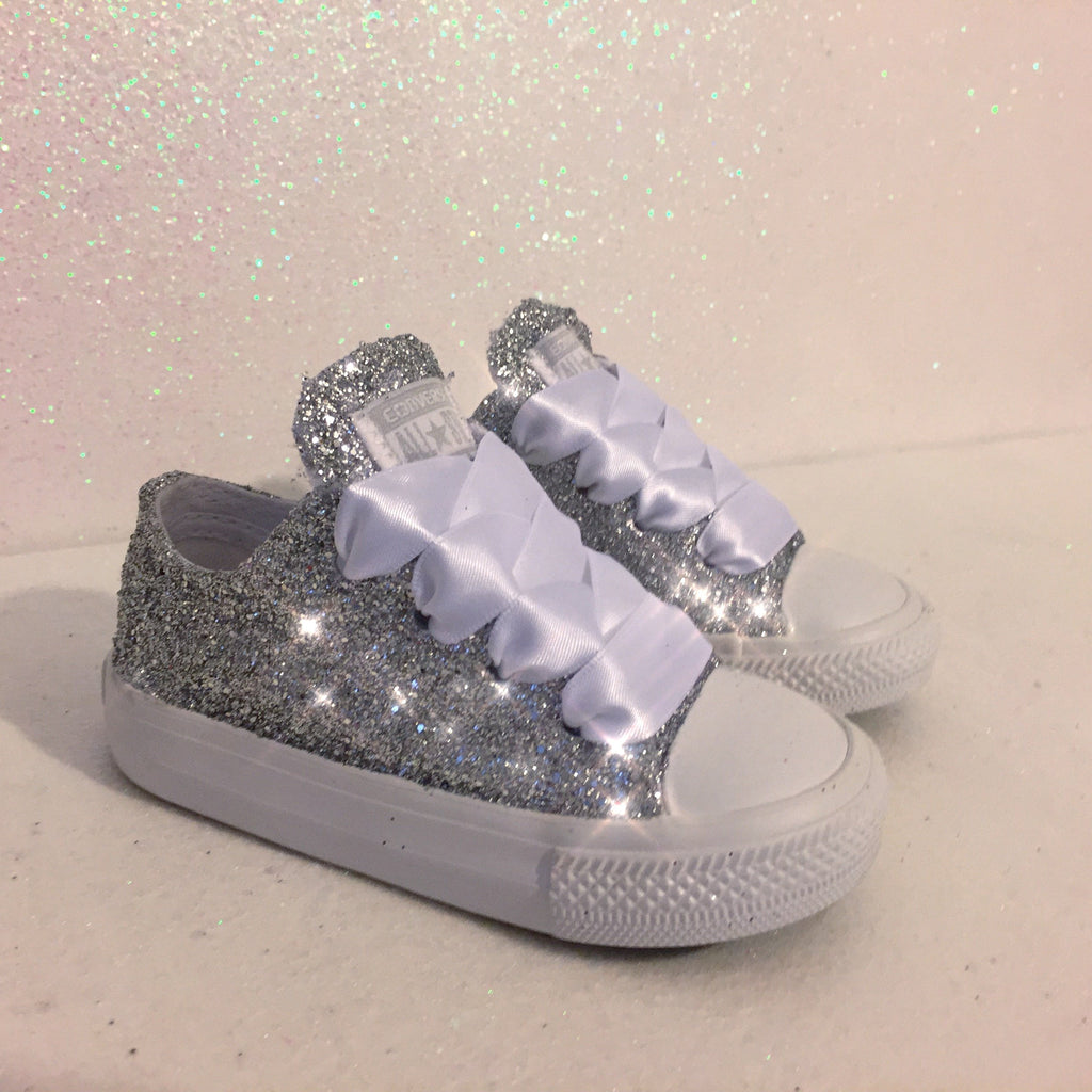 9dc822a874a89 Girls Toddler Sparkly Glitter Converse All Stars Crystals Sneakers Shoes  Silver