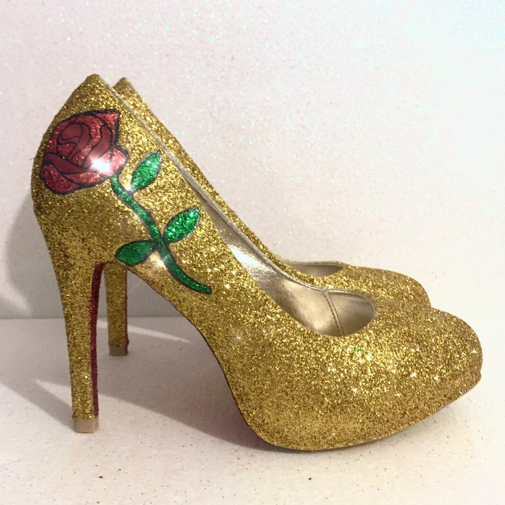 Women's Sparkly Gold Glitter heels Pumps Bridal Wedding Shoes - Rose Beauty & the Beast