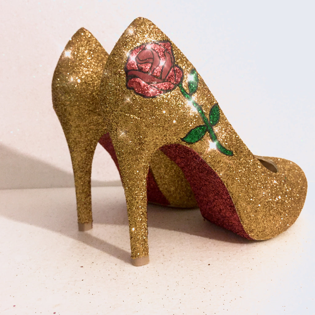bf5c37c6ef86 ... Beast  Women s Sparkly Gold Glitter heels Pumps Bridal Wedding Shoes - Rose  Beauty   the ...