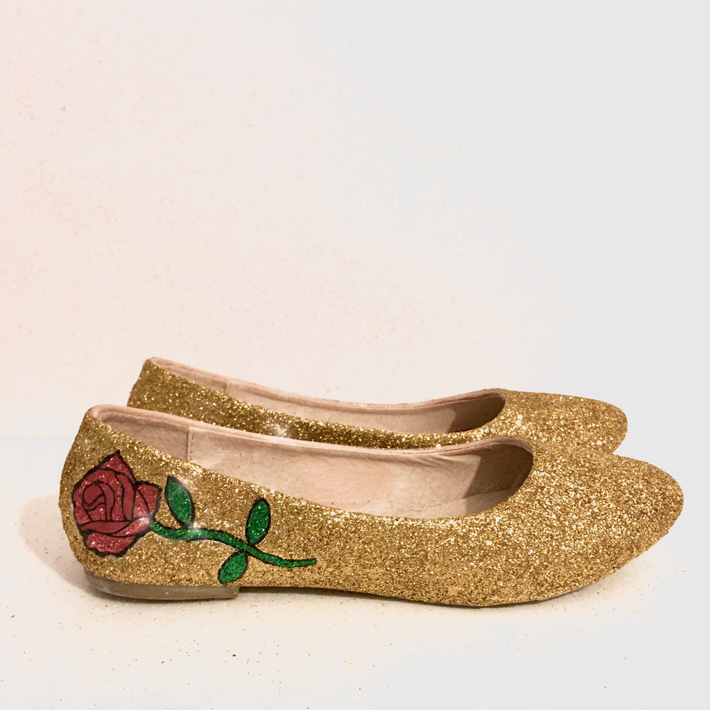 rose gold sparkly flat shoes