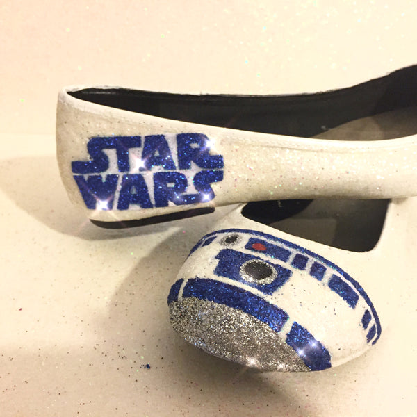 Women's Sparkly Ivory or White Glitter ballet Flats bride wedding shoes - Star Wars