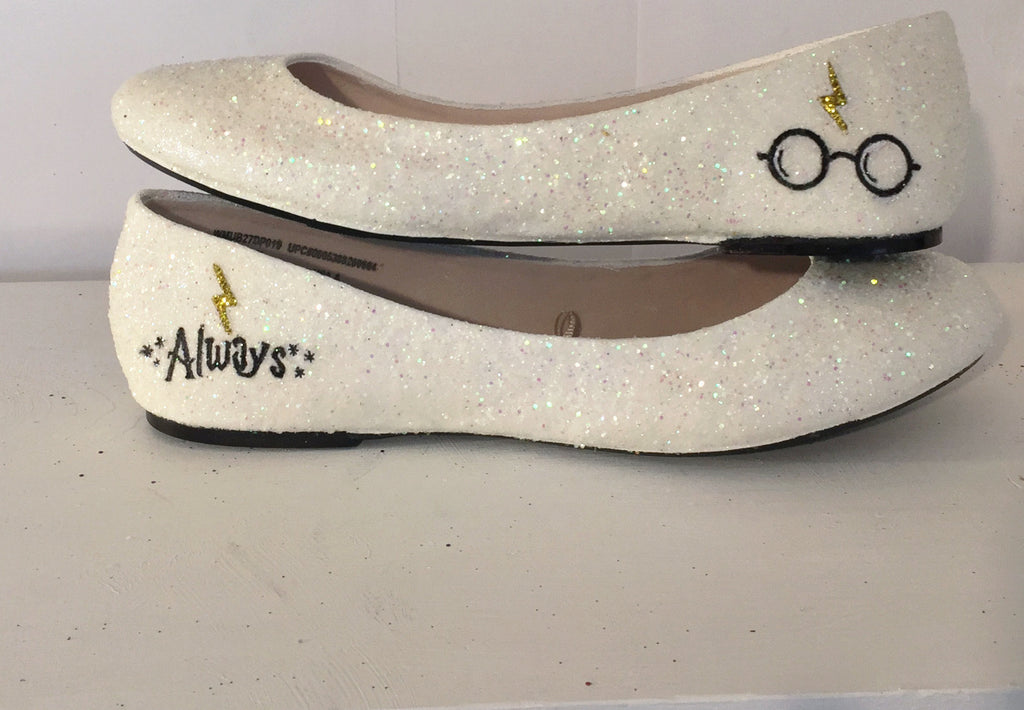 ... Womenu0027s Sparkly Ivory Or White Glitter Ballet Flats Bride Wedding Shoes  Harry Potter ...