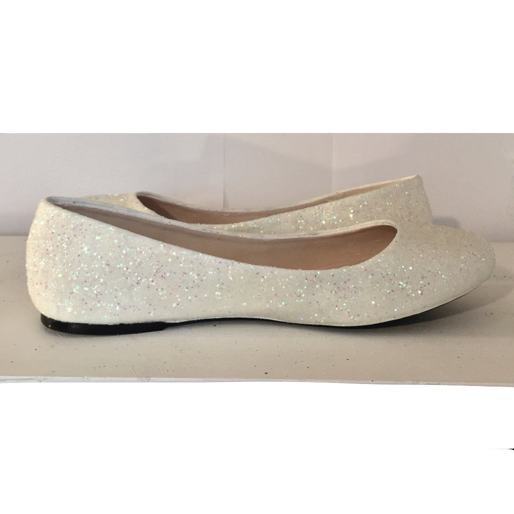 Womens Sparkly Ivory or White Glitter Ballet Flats bride wedding low shoes comfortable