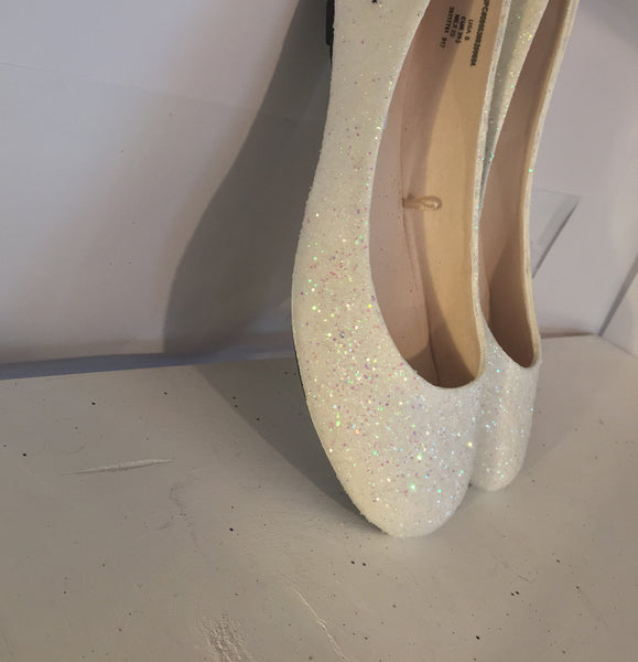 Sparkly Ivory or White Glitter BALLET Flats bride wedding shoes bridal