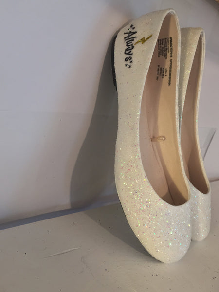 Women's Harry Potter Wedding Ballet Flat shoe White Ivory glitter bridal shoes