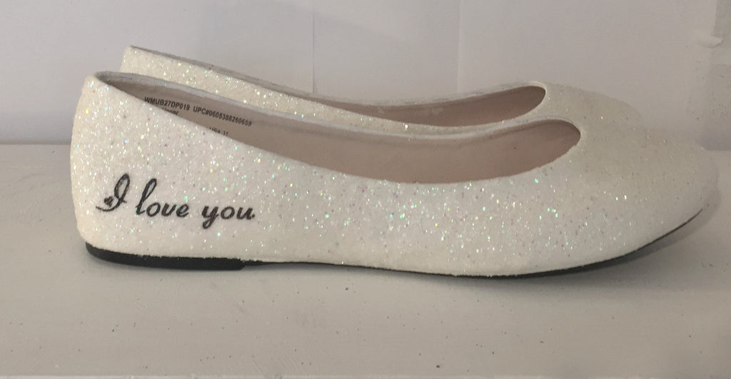 Womens Sparkly Ivory White Glitter ballet Flats bride Star wedding shoes ... 8080c574c61d