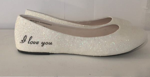 Women's Sparkly Ivory White Glitter ballet Flats bride Star wedding shoes Wars