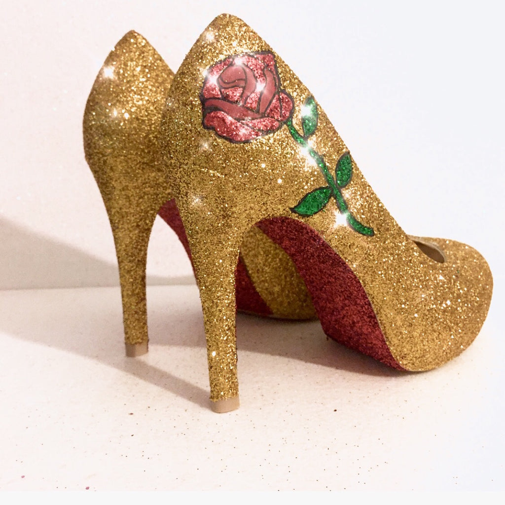 adbc70b79dc3 ... Women s Sparkly Gold Glitter heels Pumps Bridal Wedding Shoes - Rose  Beauty   the ...