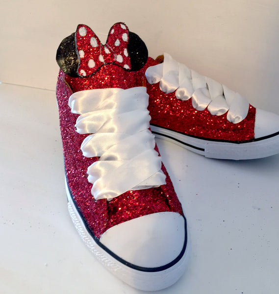 Womens Sparkly Glitter Crystals Converse All Stars Red shoes wedding bride prom