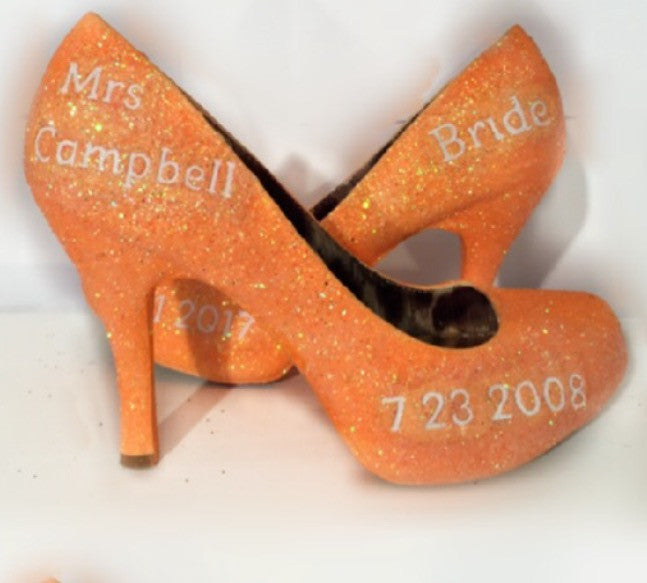 Sparkly Orange Tangerine Glitter high & low Heels Stiletto wedding bride shoes -Personalized